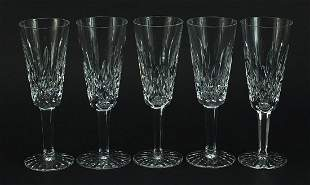 Set of five Waterford Crystal Lismore pattern Champagne