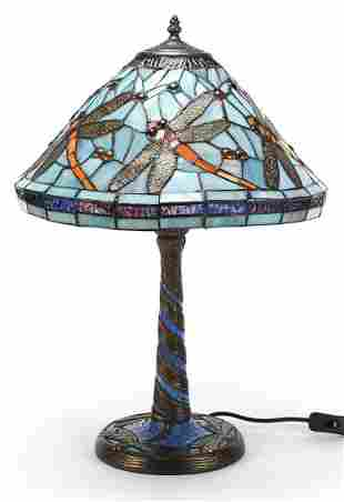 Bronzed Tiffany design table lamp with shade decorated