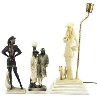 Italian figural table lamp and two similar figures, the