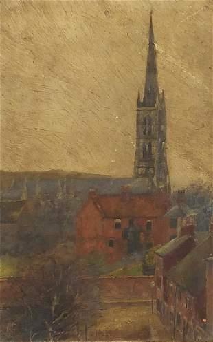 Buildings before a church, oil on board, framed, 22.5cm