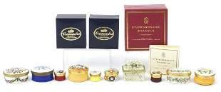 Ten enamel and porcelain trinket boxes including