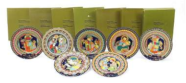 Bjorn Wiinblad for Rosenthal, seven studio line plates