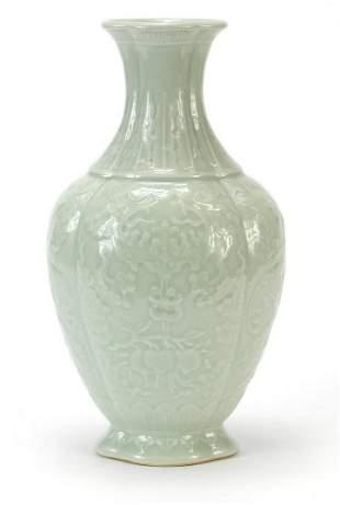Chinese porcelain quatrefoil vase having a celadon