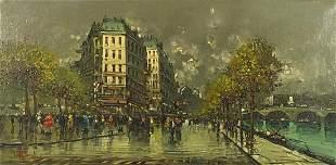 Parisian street scene, oil on canvas, mounted and