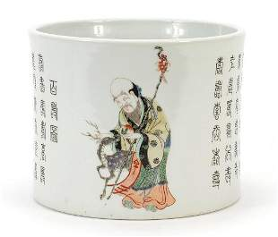 Large Chinese porcelain brush pot hand painted with an