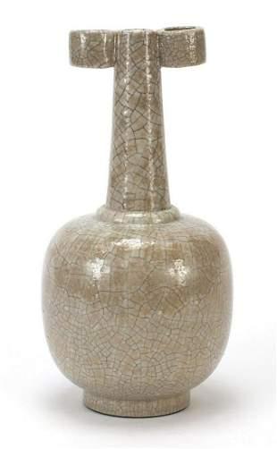 Chinese porcelain Ge ware type vase having ears, 25.5cm