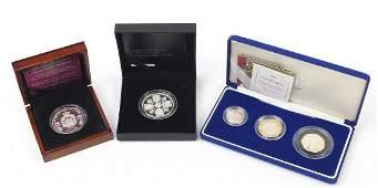 Silver proof coins comprising a 2003 Piedfort three