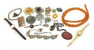 Antique and later jewellery including a Victorian gilt