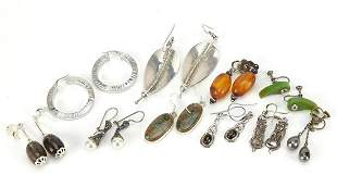 Vintage and later earrings including seven pairs of