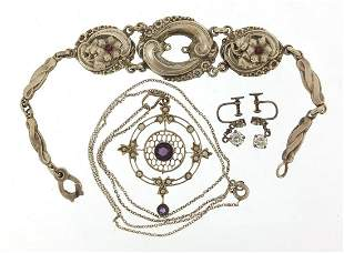 Silver jewellery comprising Art Nouveau amethyst and