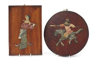 Two Chinese hardwood panels with carved soapstone inlay