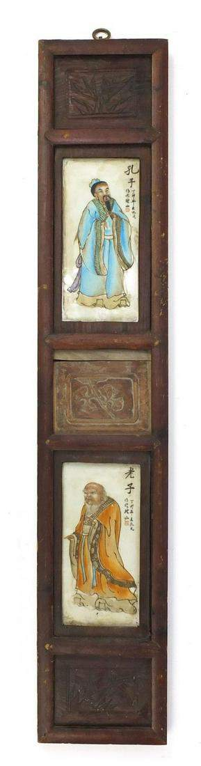 Two Chinese porcelain panels hand painted with figures,