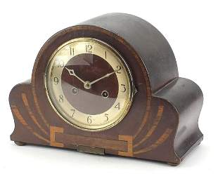 Art Deco inlaid fan shaped chiming mantle clock with