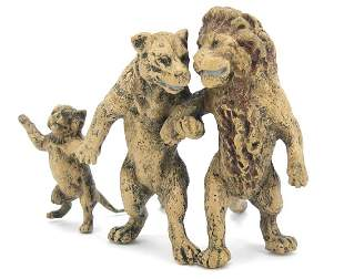 Cold painted bronze lion family in the style of Franz