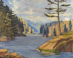 Manner of Arthur Lismer - Redstone Lake, Haliburton,