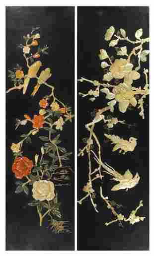Two Chinese lacquered wall plaques with mother of pearl