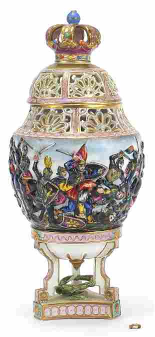 Capodimonte porcelain pot pourri vase hand painted with