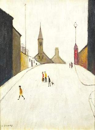 Figures on a hill before buildings and a church,