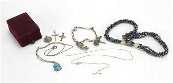 Vintage and later jewellery including 9ct gold cross