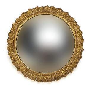 Circular gilt framed convex wall mirror, 31cm in