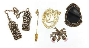 Vintage and later jewellery including a 9ct gold stick