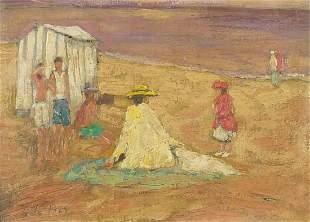 After Edward Le Bas - Figures on a beach, British