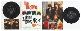 Two Beatles vinyl LP framed displays including A Hard
