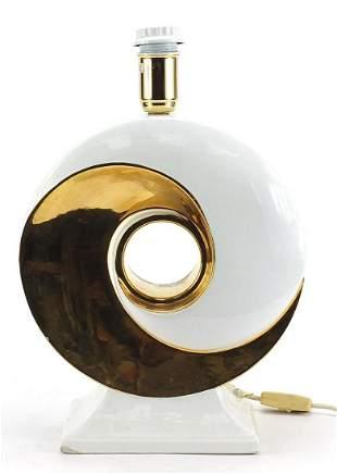 Retro Italian style partially gilt ceramic table lamp,