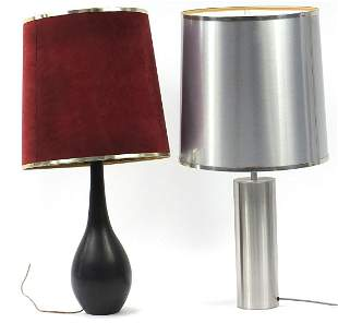 Two contemporary table lamps with shades including a