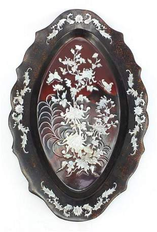 Large Chinese lacquered plate with mother of pearl