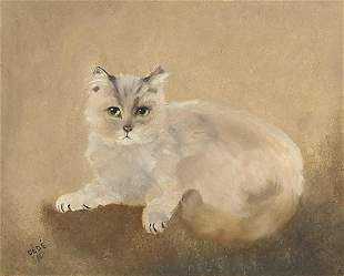 Dede Mostel Castelli - Portrait of a cat, signed and