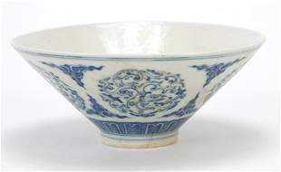 Chinese blue and white with iron red porcelain bowl