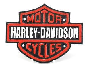 Cast iron Harley Davidson advertising plaque, 19.5cm