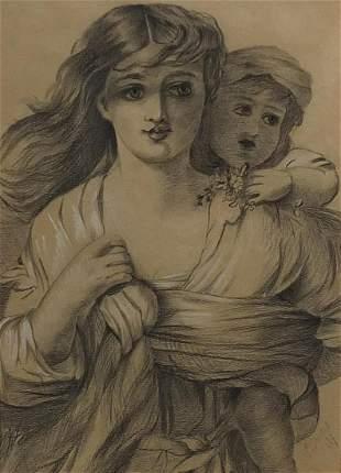 Portrait of a mother and child, Pre-Raphaelite school