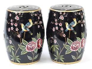 Pair of Chinese porcelain barrel design garden seats