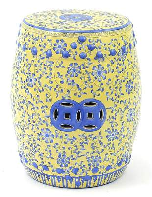 Chinese porcelain yellow ground barrel design garden