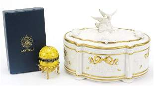 Limoges Fabergé egg clock with box and a Franklin Mint