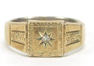 9ct gold and silver diamond signet ring, size Y, 8.3g