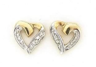 Pair of 9ct gold diamond love heart stud earrings, 7mm