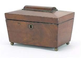 Victorian mahogany sarcophagus shaped tea caddy with