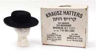 Jewish rabbit fur hat with Krausz Hatters stamp and box
