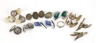 Group of antique and later cufflinks including silver