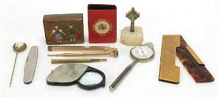 Antique and later objects including a gold coloured