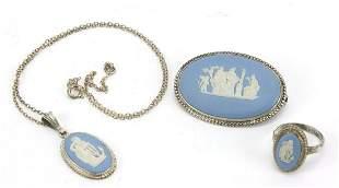 Silver mounted blue Wedgwood Jasperware brooch pendant