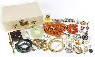 Vintage and later costume jewellery arranged in a