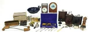 Sundry items including enamel chamber stick, hip flasks