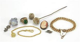 Vintage and later jewellery including a carved opal
