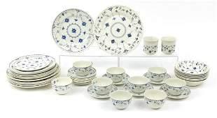 Furnivals & Churchill Danish blue dinnerware including