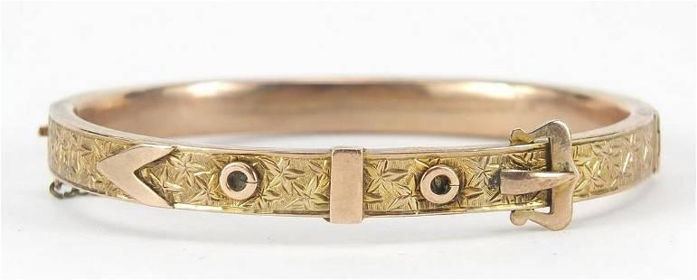 Victorian unmarked gold belt buckle desi...