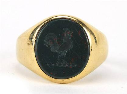 18ct gold bloodstone intaglio seal signe...